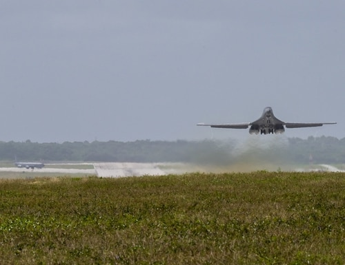 A U.S. Air Force B-1B Lancer from Ellsworth Air Force Base, S.D., takes off from Andersen Air Force Base, Guam, for a bomber task force mission on Jan. 6, 2021. (Senior Airman Tristan Day/U.S. Air Force)