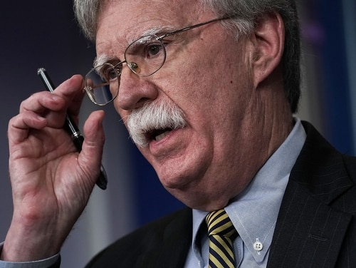 National Security Adviser John Bolton speaks during an Oct. 3, 2018, news briefing at the James Brady Press Briefing Room of the White House in Washington. (Alex Wong/Getty Images)