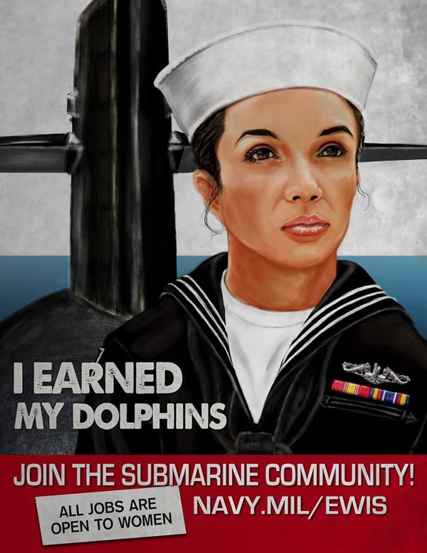 A WWII-style poster encourages female sailors to join the submarine force. The Navy has been working to integrate the force since 2011. (Commander, Submarine Forces Facebook)