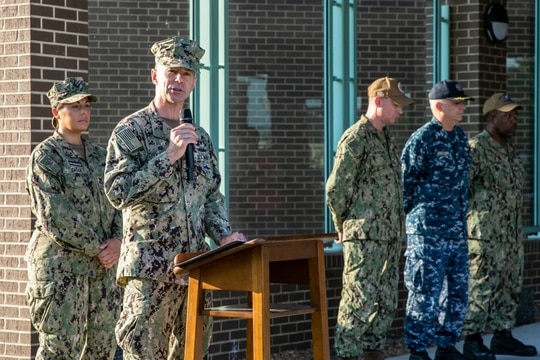 Capt. Kai Torkelson, shown here in 2019, was fired Monday as head of Norfolk Naval Shipyard. (Navy)