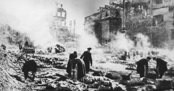 Bodies in the street after the allied fire bombing of Dresden, Germany, February 1945. (Keystone/Hulton Archive/Getty Images)