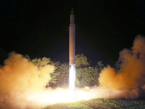 North Korea launches an intercontinental ballistic missile Hwasong-14 at an undisclosed location in North Korea in 2017. U.S. Secretary of State Mike Pompeo is to travel to North Korea ahead of a second summit between President Donald Trump and North Korean leader Kim Jong Un to restart talks on the north's nuclear arsenal. (AFP via Getty Images)
