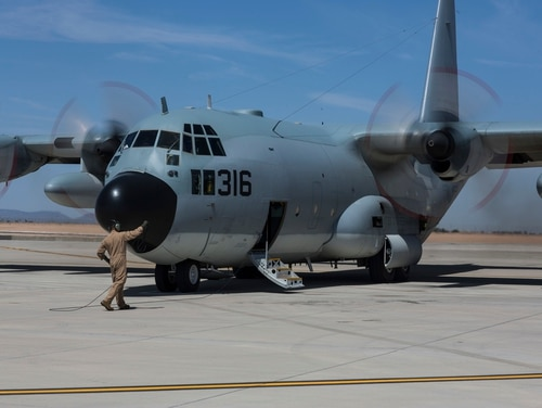 A U.S. Marine Corps KC-130T aircraft prepare to taxi during Weapons and Tactics Instructor Course (WTI) 2-15 in Yuma, Ariz., April 11, 2015. ( Lance Cpl. Jodson B. Graves/Marine Corps)