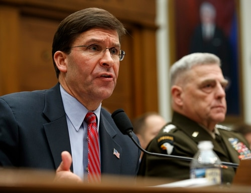 Secretary of Defense Mark Esper, left, and Chairman of the Joint Chiefs Gen. Mark Milley, testify to a House committee hearing on U.S. policy in Syria, Wednesday, Dec. 11, 2019, on Capitol Hill in Washington. (Jacquelyn Martin/AP)