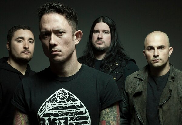 Trivium's lead man, Matt Heafy, front, chatted with Military Times about growing up with a Marine father and the perfect fit of metal with the military community. (Photo courtesy of Trivium)