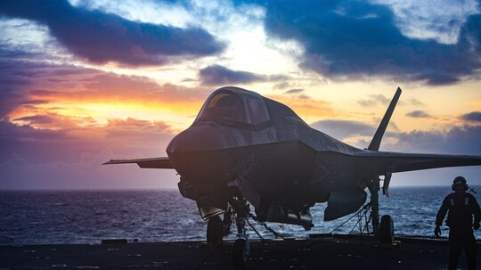 An F-35B from Marine Fighter Attack Squadron 211 sits on the flight deck aboard the Royal Navy carrier Queen Elizabeth. (U.S. Marine Corps)