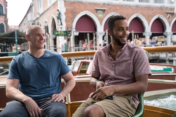 Spencer Stone and Anthony Sadler hang out on set. (Warner Bros.)