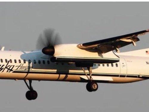 An Alaska Air Bombardier Q400 similar to this one, operated by Horizon Air, was stolen and crashed by an anguished employee late Friday near Seattle.
