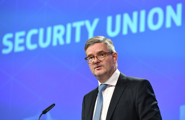 Julian King, the head of the EU's security unit, addresses the media at the European Commission in Brussels on Sept. 7, 2017. (Emmanuel Dunand/AFP via Getty Images)