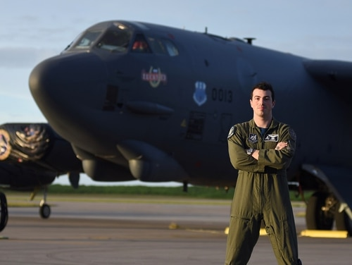 Capt. Julian Gluck, 27, serves as a B-52 long-range bomber pilot with the 20th Bomb Squadron, 2nd Bomb Wing, out of Barksdale Air Force Base, Louisiana. (Airman 1st Class Gerald R. Willis/Air Force)