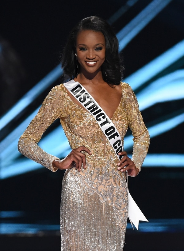 LAS VEGAS, NV - JUNE 05: Miss District of Columbia USA 2016 Deshauna Barber walks on stage as one of top three finalsts during the 2016 Miss USA pageant at T-Mobile Arena on June 5, 2016 in Las Vegas, Nevada. Barber went on to be named the new Miss USA. (Photo by Ethan Miller/Getty Images)