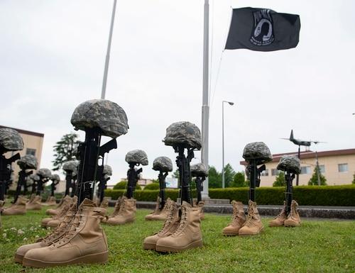 Battlefield crosses are displayed at Yokota Air Base, Japan, May 15, 2020. (Airman 1st Class Brieana E. Bolfing/Air Force)