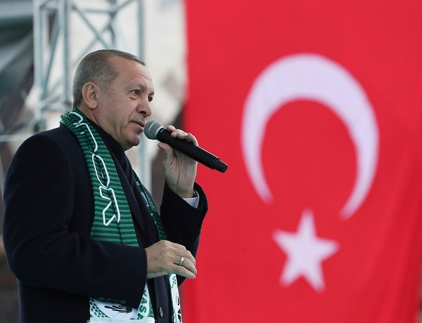 Turkey's President Recep Tayyip Erdogan delivers a speech during a rally in Konya, Turkey, Monday, Dec. 17, 2018. (Presidential Press Service via AP, Pool)