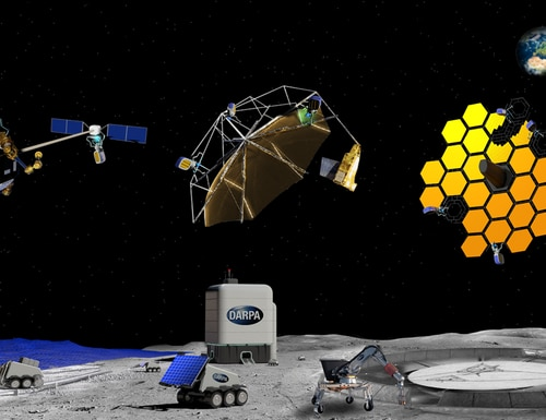 The Defense Advanced Research Projects Agency is launching the Novel Orbital and Moon Manufacturing, Materials and Mass-efficient Design program, or NOM4D, to develop new materials and processes that could enable manufacturing in space and on the moon's surface. (DARPA)