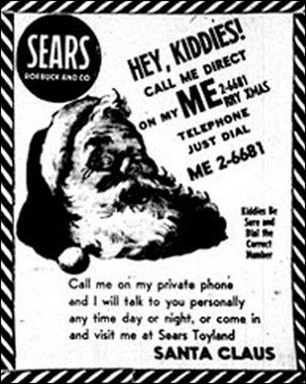 The original, misprinted Sears-Roebuck ad that accidentally prompted scores of children to call CONAD in December 1955. (Air Force)