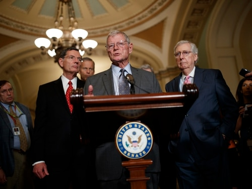 Sen. Jim Inhofe, R-Okla., delivers remarks about the 2020 National Defense Authorization Act on June 25, 2019. (Tom Brenner/Getty Images)
