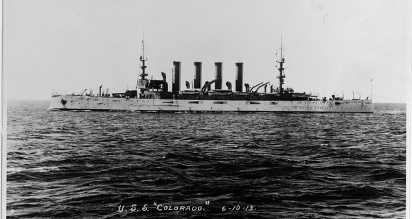 An undated photo of USS Colorado (BB 45), circa 1906. (Navy photo)