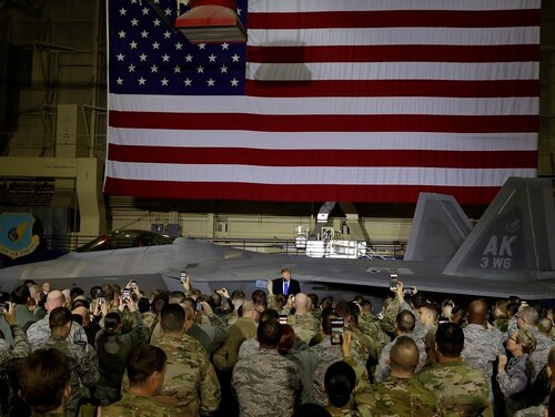 President Donald Trump speaks to service members at Joint Base Elmendorf-Richardson, Thursday, Feb. 28, 2019, in Anchorage, Alaska., during a refueling stop as he returns from Hanoi. (Evan Vucci/AP)
