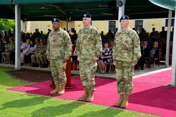 (From left) Maj. Gen. Darryl A. Williams, Gen. David M. Rodriguez, commander, U.S. Africa Command, and Maj. Gen. Joseph P. Harrington take part in the U.S. Army Africa change of command ceremony.
