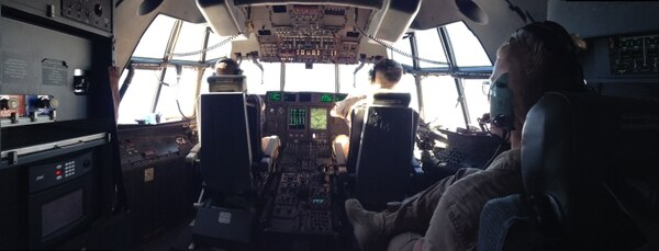 Cruising at over 13,000' above Yuma, Arizona, in 2012, KC-130 pilot Marine Capt. Joshua Mallow, left, and KC-130 pilot Weapons and Training Instructor Capt. Kevin Herrmann steady the KC-130J Hercules and prepare for AV-8B refueling operations as a part of Marine Aviation Weapons and Tactics Squadron's WTI course. (Capt. Staci Reidinger/ Marine Corps)