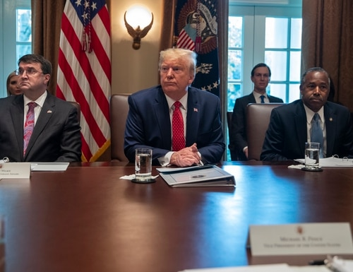 Secretary of Veterans Affairs Robert Wilkie (left) and Secretary of Housing and Urban Development Ben Carson (right) listen as President Donald Trump (center) speaks during a cabinet meeting at the White House on Nov. 19, 2019. (Evan Vucci/AP)