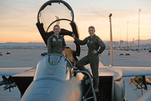 "Brie Larson, left, spent as much time as possible with Brig. Gen. Jeannie Leavitt, former 57th Wing commander, during a January 2018 trip to Nellis Air Force Base, Nevada, to research her character for the new ""Captain Marvel"" movie. (Brad Baruh/Marvel Studios)"