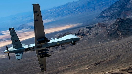 Australia has yet to make a choice between the MQ-9 Reaper Block 5 variant, shown here, which is currently in production for the U.S. Air Force, or the MQ-9B Skyguardian under development for the United Kingdom. (U.S. Air Force photo by Senior Airman Cory D. Payne/Not Reviewed)