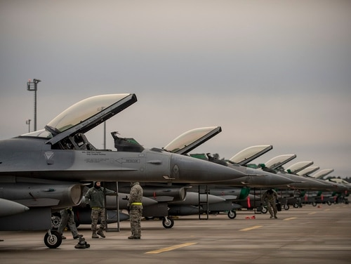 F-16s from the 180th Fighter Wing, Ohio Air National Guard, park on the ramp at Amari Air Base, Estonia, after arriving January 14th. Secretary of Defense Jim Mattis wants to see tactical aircraft readiness rates increase within the year. (MC3 Cody Hendrix/DoD)