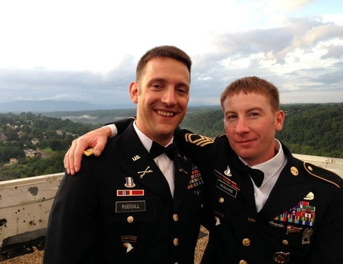 Then-Army Capt. Jim Rudisill (left) poses with Sgt. 1st Class Adam McGuire during a 2013 wedding. Rudisill is now at the center of lawsuit against the Department of Veterans Affairs which could grant new GI Bill benefits to millions of veterans. (Photo courtesy of Jim Rudisill)