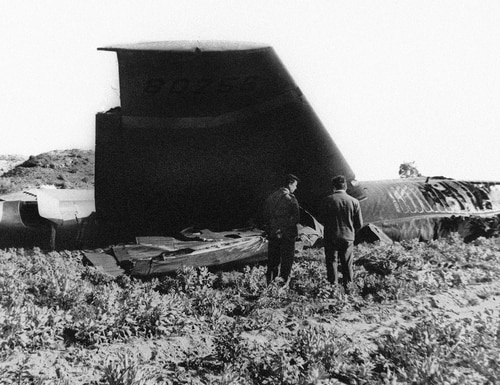 This Jan. 17, 1966, file photo, shows part of the wreckage of the U.S. Air Force B-52 that crashed in Palomares, Spain, after a mid-air collision with a KC-135 aerial tanker during refueling. (AP Photo)