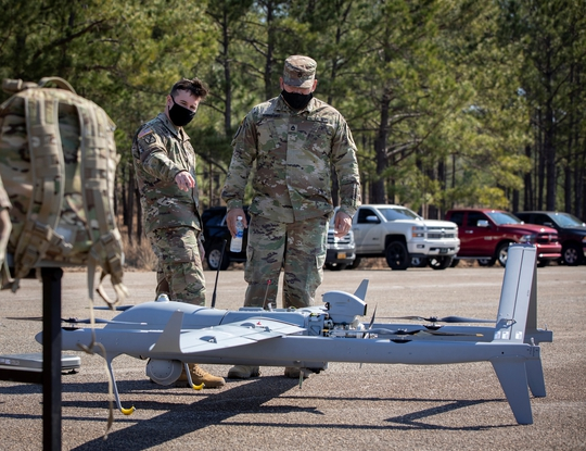 Soldiers check out Textron's Aerosonde HQ at the Future Tactical Unmanned Aircraft System rodeo at Fort Benning, Georgia in March 2021. (Photo courtesy of the U.S. Army)