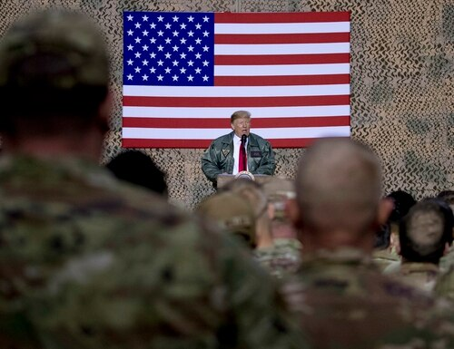 President Donald Trump speaks at Al Asad Air Base, Iraq, during his surprise visit to troops on Wednesday, Dec. 26, 2018. (Andrew Harnik/AP)