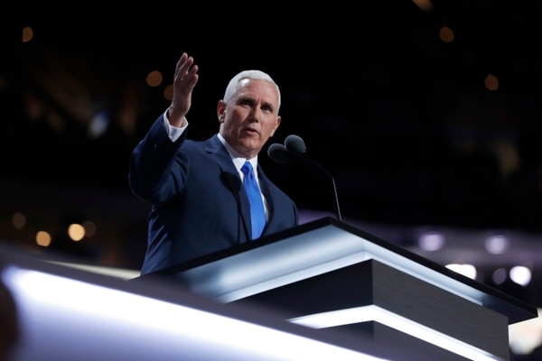 Republican Vice Presidential Nominee Gov. Mike Pence of Indiana speaks during the third day session of the Republican National Convention in Cleveland, Wednesday, July 20, 2016. (AP Photo/Carolyn Kaster)