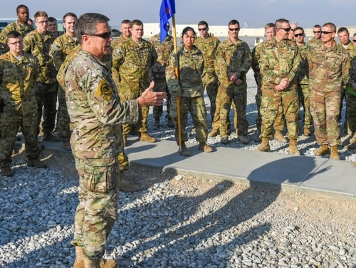 Gen. Austin Miller addresses members of the 101st Airborne deployed to Afghanistan in Dec. 2018 (Photo Sgt. Steven Lopez)
