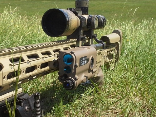 The Marine Corps selected the Integrated-Compact Ultralight Gun-mounted Rangefinder (I-CUGR), pictured here mounted on a rifle. The rangefinder is manufactured by Safran Optics 1 Inc. and will be fielded by infantry squads and snipers. (Courtesy photo)