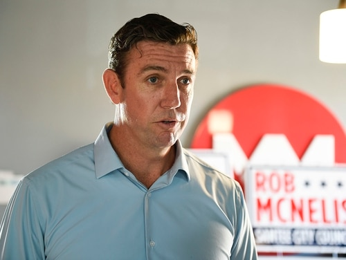 Rep. Duncan Hunter,R-Calif., speaks during an interview at a call center on Tuesday Nov. 6, 2018, in Santee, Calif. (Denis Poroy/AP)
