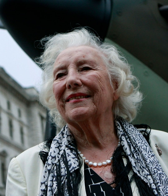 In this Aug. 20, 2010, file photo, Dame Vera Lynn attends a ceremony to mark the 70th anniversary of the Battle of Britain. in central London. The family of World War II forces sweetheart Vera Lynn says she has died. She was 103 it was reported on Thursday, June 18, 2020. (Lefteris Pitarakis/AP)