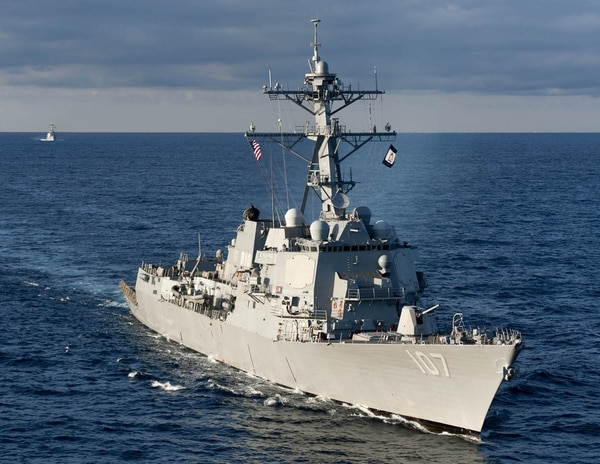 150331-N-ZG705-411 ATLANTIC OCEAN (March 31, 2015) The guided-missile destroyer USS Gravely (DDG 107) transits the Cherry Point operating area. The ships are part of the Harry S. Truman Carrier Strike Group conducting integrated training for an upcoming deployment. (U.S. Navy photo by Mass Communication Specialist 2nd Class K. Anderson/Released)