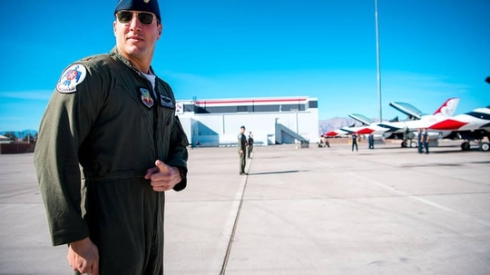 Thunderbirds pilot Maj. Stephen Del Bagno prepares to board his F-16 Fighting Falcon during a modified ground show practice at Nellis Air Force Base, Nevada, Jan. 26. Del Bagno was killed April 4 when his aircraft crashed on the Nevada Test and Training Range during a practice aerial demonstration. (Master Sgt. Christopher Boitz/Air Force)