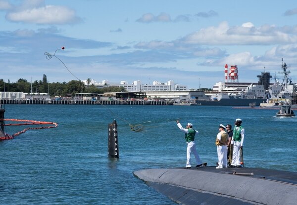 The fast-attack submarine Bremerton returns to Joint Base Pearl Harbor-Hickam for the last time in April following a six-month western Pacific deployment. (Navy)