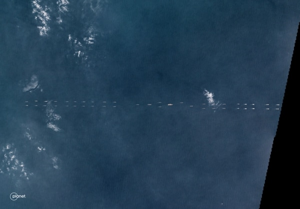 Satellite imagery shows dozens of Chinese vessels steaming with a carrier group on March 26, 2018, in the South China Sea. (Photo courtesy Planet Labs)
