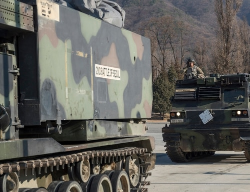 Soldiers prepare to conduct ground movement during a battery training event Dec. 12, 2019, at Camp Casey, South Korea. (Capt. Daniel Parker/Army)