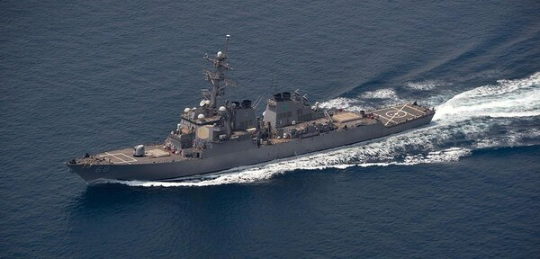 The guided-missile destroyer USS The Sullivans conducts a routine transit through the Strait of Hormuz. (Navy)