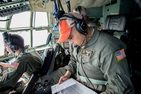 Master Sgt. Mario Brana, a flight engineer assigned to the 198th Airlift Squadron, reviews paperwork, Nov. 20, 2017, Muñiz Air National Guard Base, Puerto Rico. Brana, of Bayamon, Puerto Rico, was one of nine airmen killed in a WC-130 crash in Savannah, Georgia, on May 2. (Air National Guard/Staff Sgt. Daniel J. Martinez)