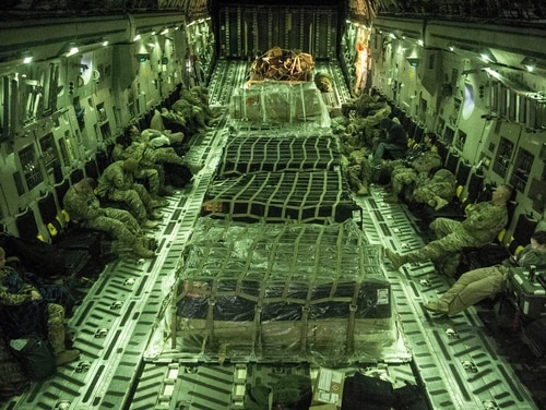 Acting Defense Secretary Patrick Shanahan has authorized the deployment of about 1,000 additional troops to the CENTCOM region to counter Iran. A U.S. Air Force C-17 Globemaster III transports service members and cargo from Al Udeid Air Base in Qatar while supporting Operation Resolute Support, Jan. 13, 2016. (Staff Sgt. Corey Hook/Air Force)