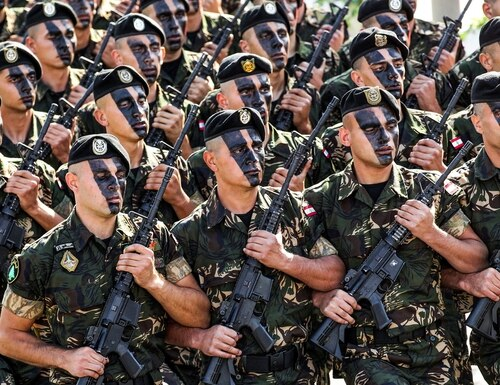 Lebanese Army commandos march in a military parade in the capital Beirut on Nov. 22, 2016. (Anwar Amro/AFP via Getty Images)