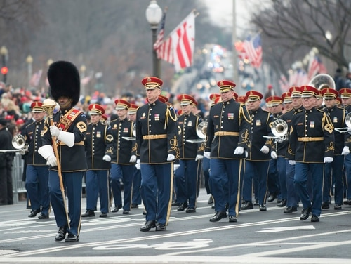 The U.S. Army Band marches along Pennsylvania Avenue at the start of the inaugural parade in Washington on Jan. 20, 2017. President Donald Trump has requested options for a separate military parade, after seeing Paris' Bastille Day celebrations. (Sean Kimmons/Army)