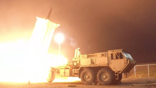 A THAAD interceptor is launched from the Pacific Spaceport Complex Alaska during a test on July 30, 2017. (Leah Garton/U.S. Army)