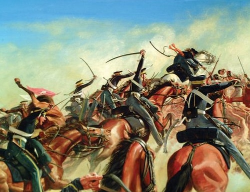 Painting of the 1st Regiment Dragoons in the Mexican-American War. (Army Journal)