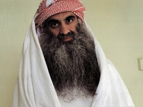 FILE - In this undated file photo downloaded from the Arabic language Internet site www.muslm.net and purporting to show a man identified by the Internet site as Khalid Shaik Mohammed, the accused mastermind of the Sep. 11 attacks, is seen in detention at Guantanamo Bay, Cuba. Lawyers for Mohammed, the lead defendant in the Sept. 11 war crimes trial, are seeking the removal of the judge and prosecutors because they say important evidence has been destroyed. (AP Photo/www.muslm.net, File)